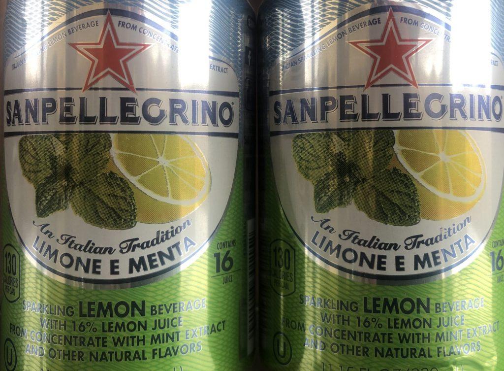 San Pellegrino Lemon and Mint cans